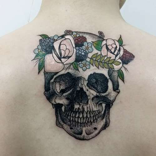 Cat Skull Flowers Tattoo Flowers Healthy