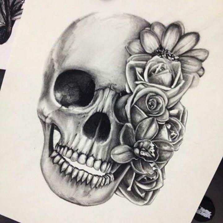 Flowers And Skull Tattoo Design