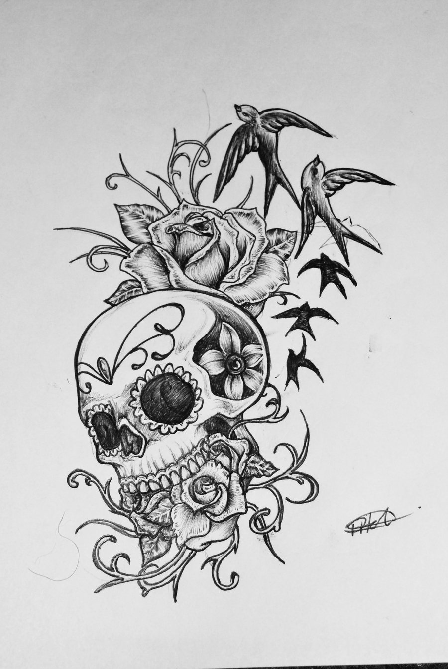Flying Birds And Sugar Skull Tattoo Design
