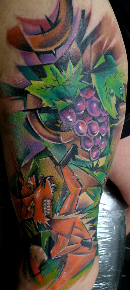 Fox With Grapes Tattoo On Leg Calf