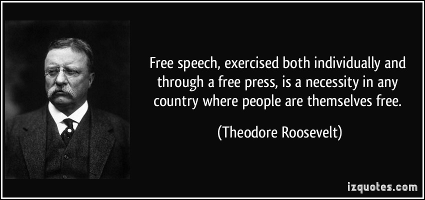 Free speech, exercised both individually and through a free press, is a necessity in any country where people are themselves free. Theodore Roosevelt