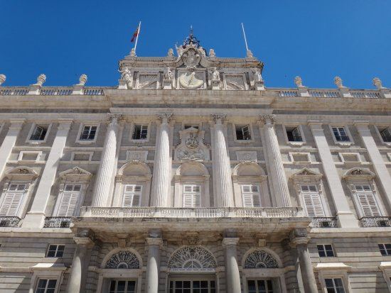 Front Facade Of The Royal Palace Of Madrid View From Below