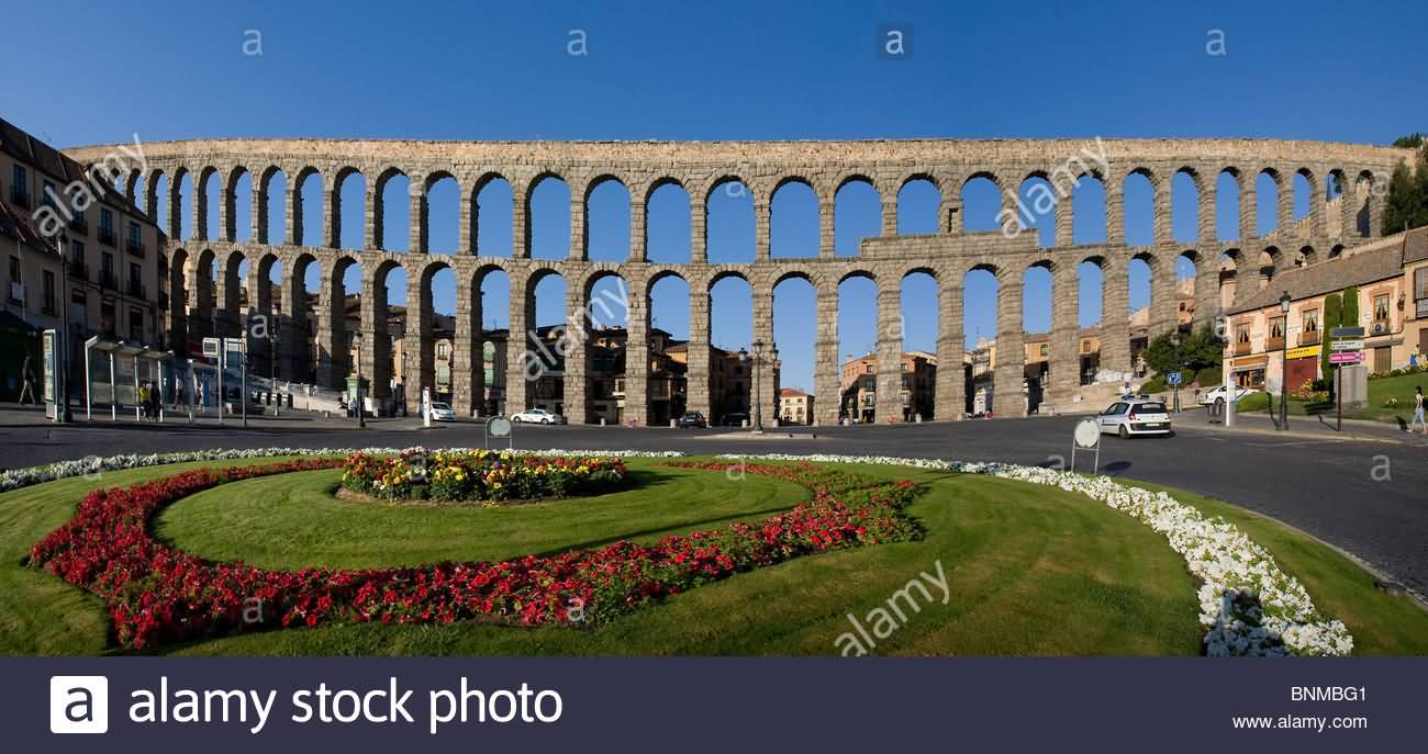 Garden In Front Of The Aqueduct Of Segovia