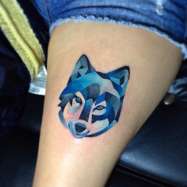 Geometric Wolf Head Tattoo Design For Half Sleeve