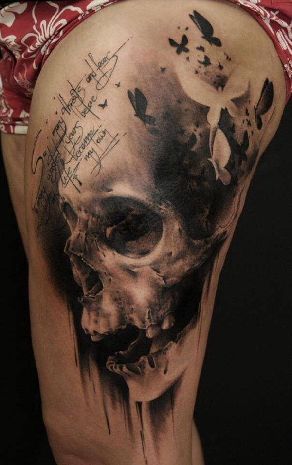 A List of Powerful Skull Tattoo Designs - TutorialChip   Black And Grey Skull Tattoo Designs
