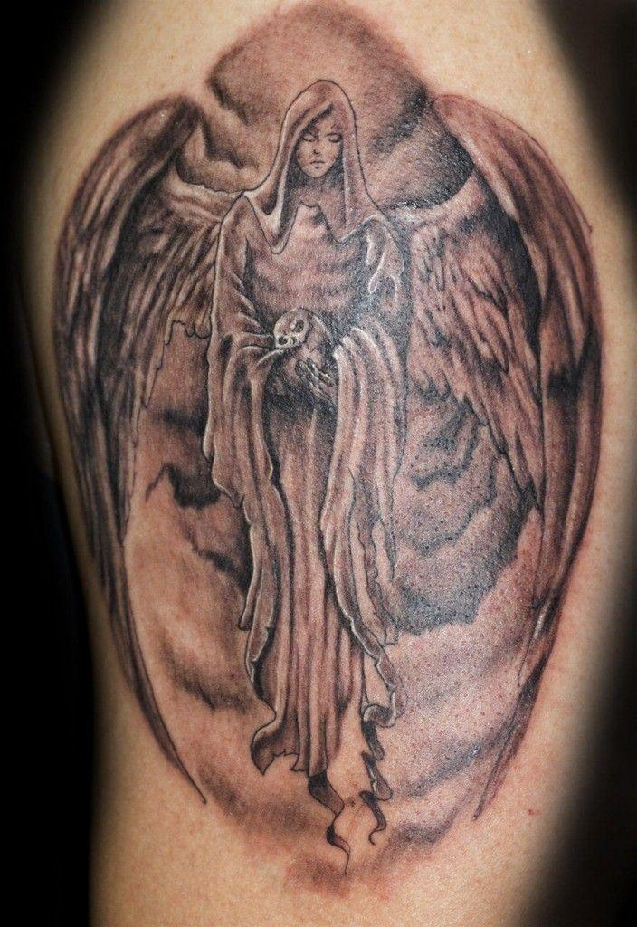a4ef5ba92 Grey Ink Angel Tattoo On Left Bicep