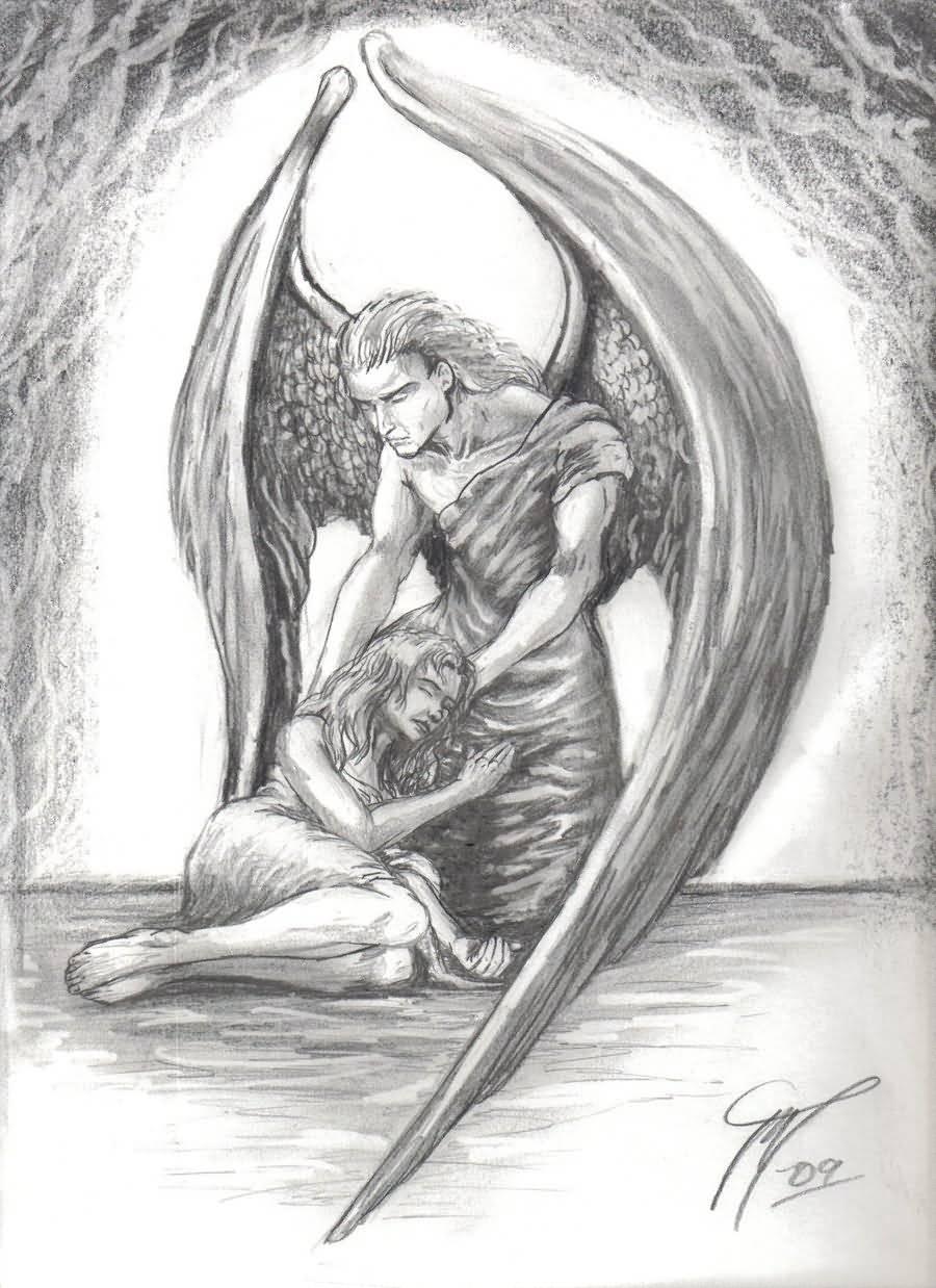 45 angel tattoos designs and samples. Black Bedroom Furniture Sets. Home Design Ideas