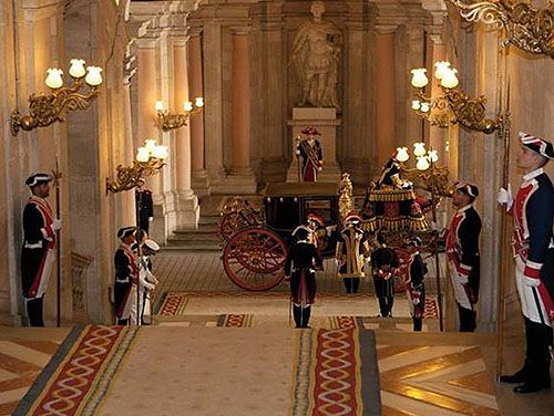 Guards Inside The Royal Palace Of Madrid