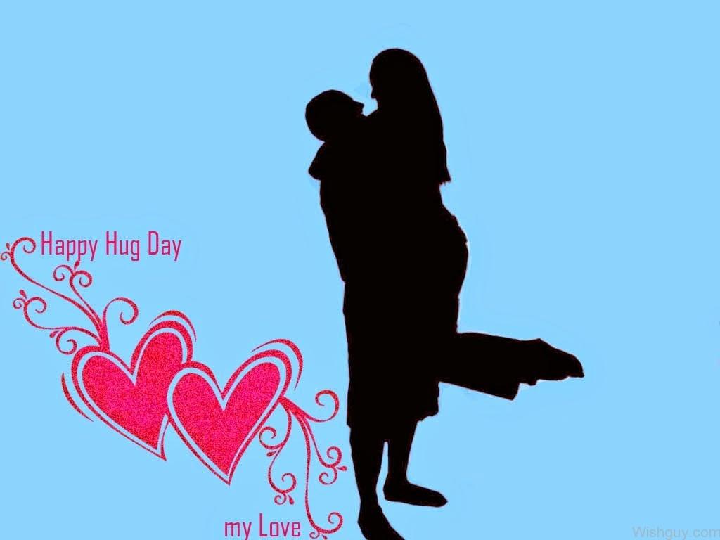 Happy Hug Day My Love Silhouete Couple Greeting Card
