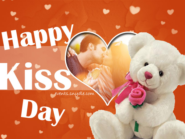 55 happy kiss day greeting pictures and images happy kiss day teddy bear with rose greeting card m4hsunfo