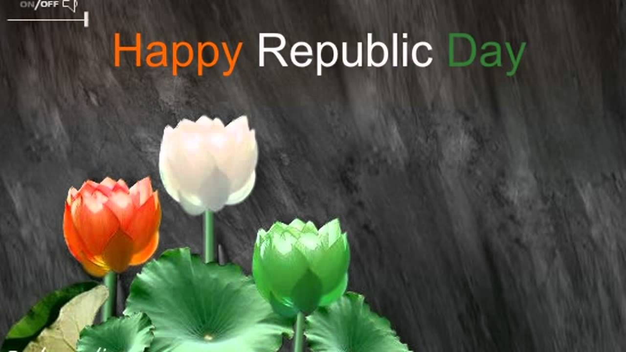 Happy Republic Day Tri Color Lotus Flowers Greeting Card