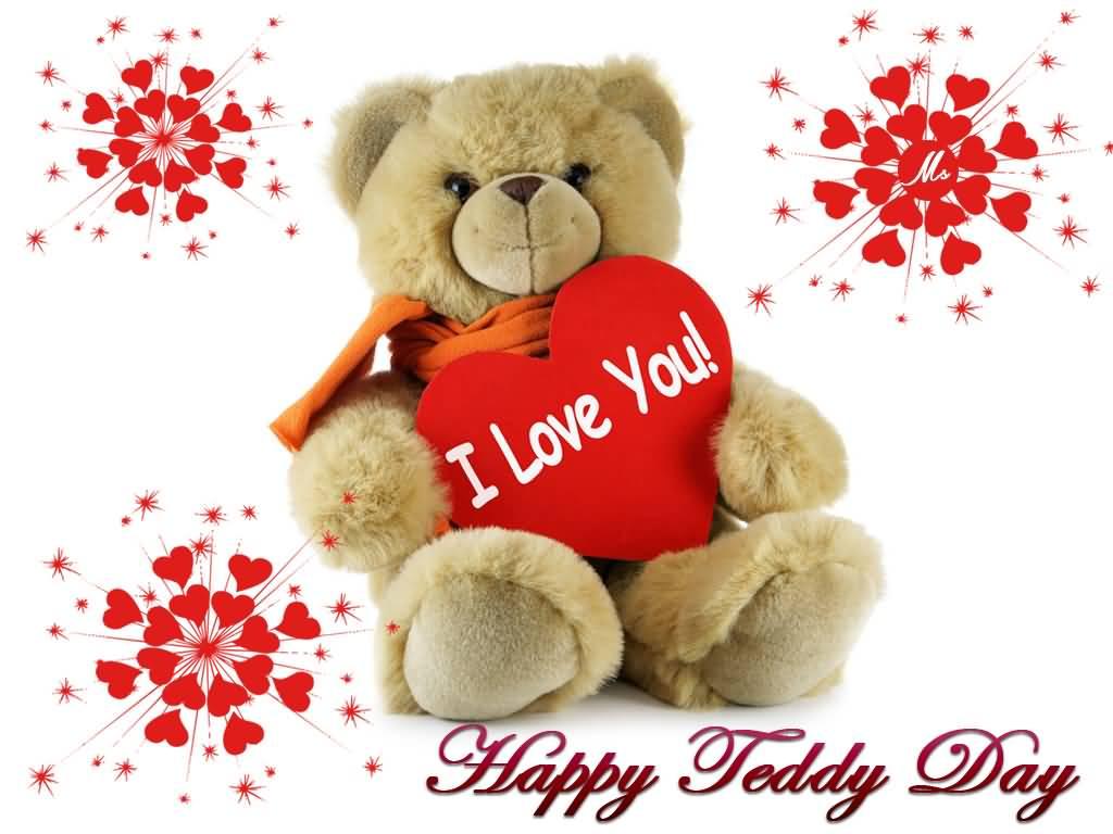 Happy Teddy Day Teddy Bear With I Love You Heart Card