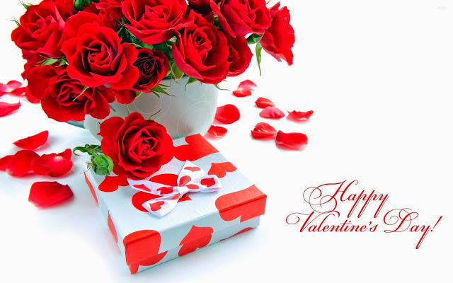happy valentines day 2017 rose flowers with gift box - Valentine Day Wishes