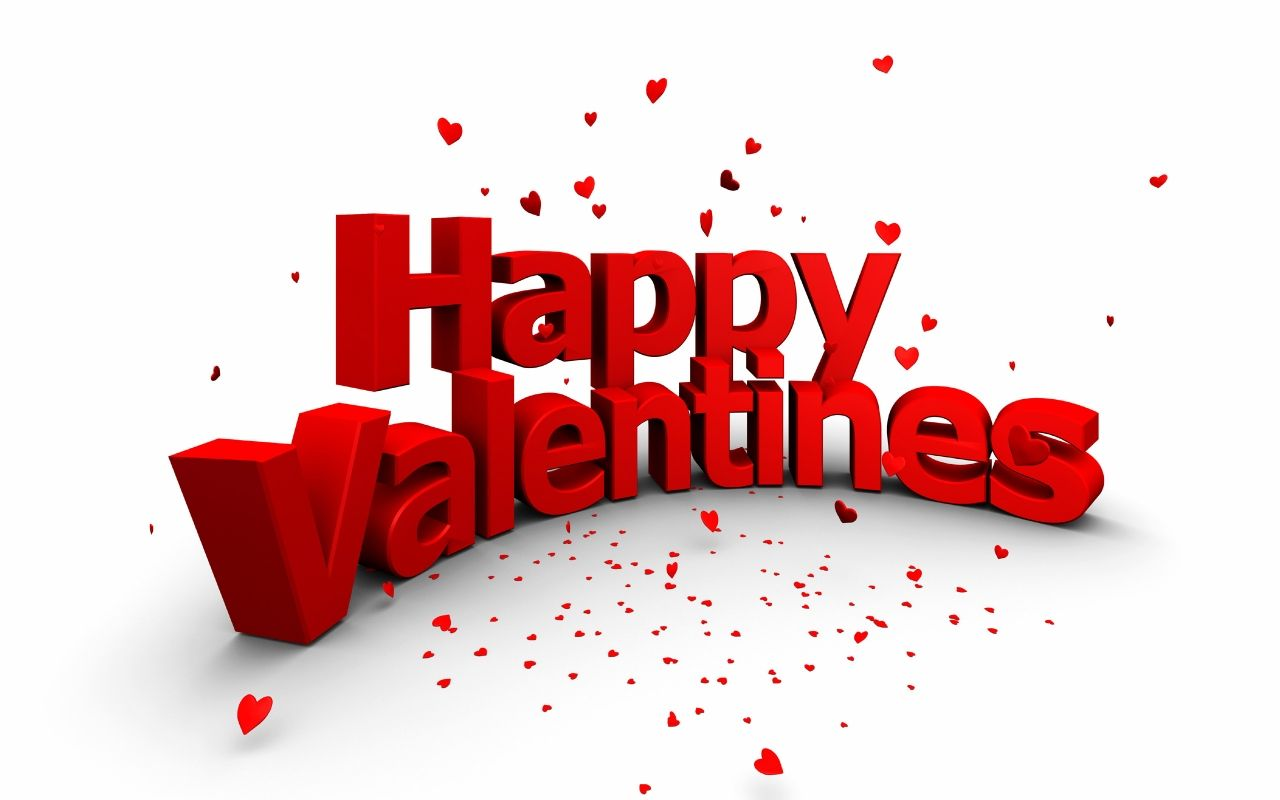 Happy Valentine S Day 3d Text Flying Hearts Wallpaper