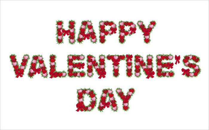 happy valentine's day flowers text clipart, Ideas