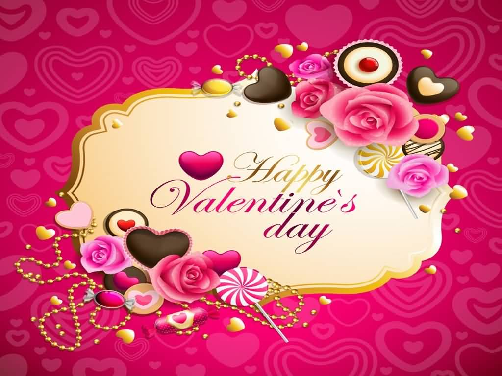 Happy Valentine S Day Hearts Flowers And Candies Wallpaper