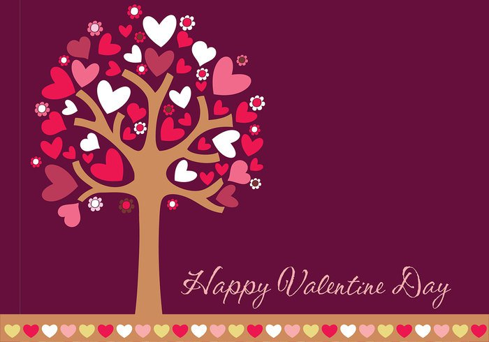happy valentines day hearts tree wallpaper