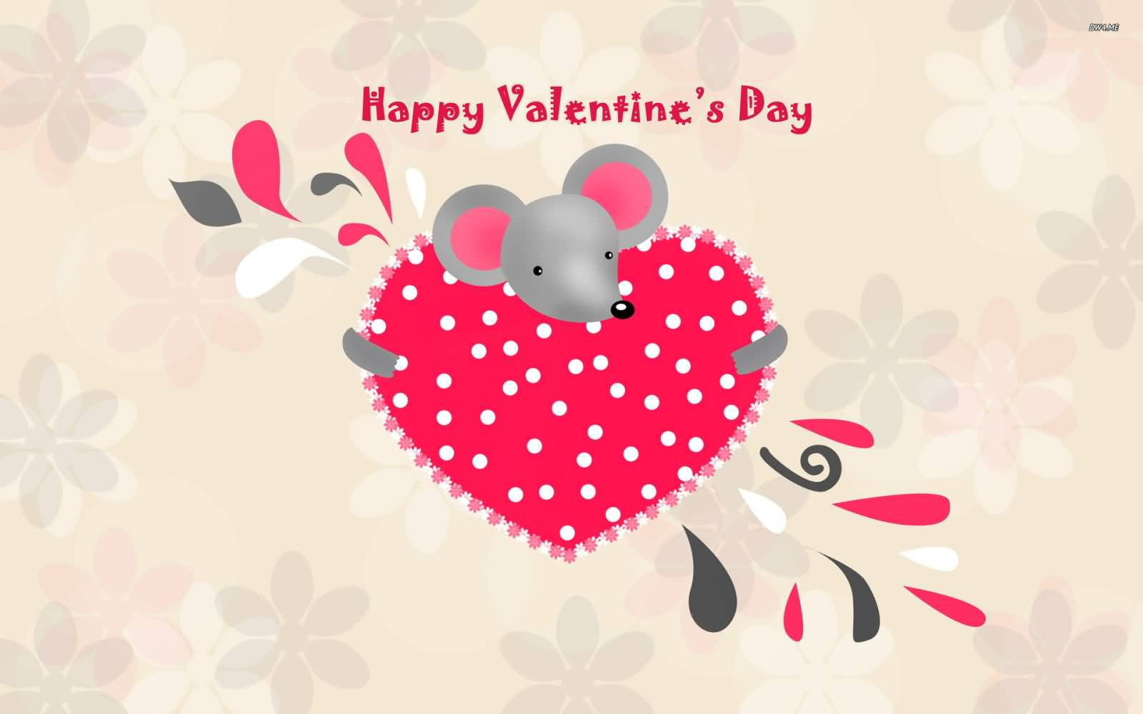 Happy Valentineu0027s Day Mouse With Heart Wallpaper For Desktop