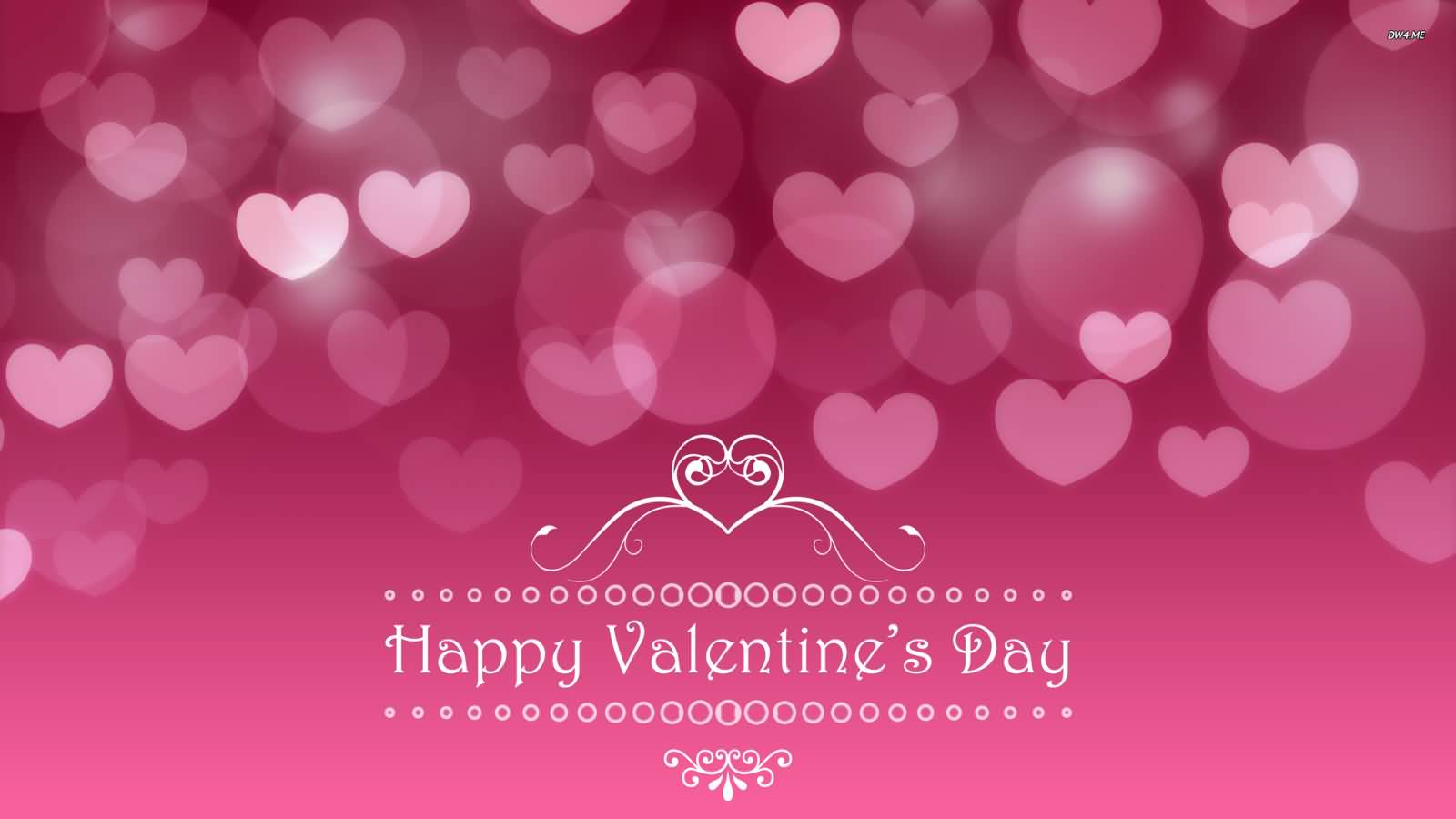 Happy Valentine's Day Pink Background Wallpaper