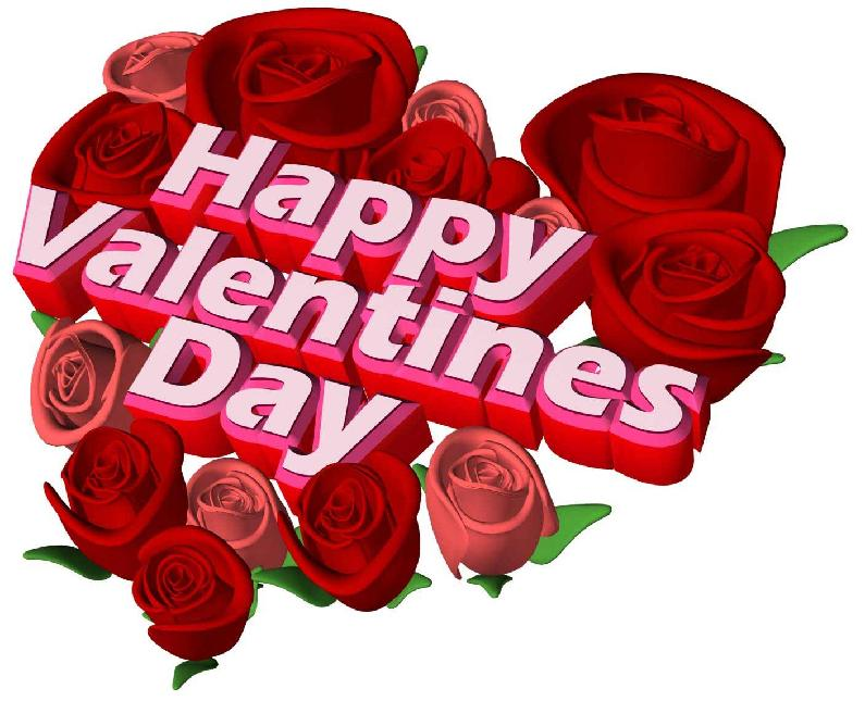 Happy Valentine\'s Day Rose Flowers Heart