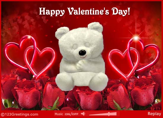 Happy Valentineu0027s Day Teddy Bear And Hearts