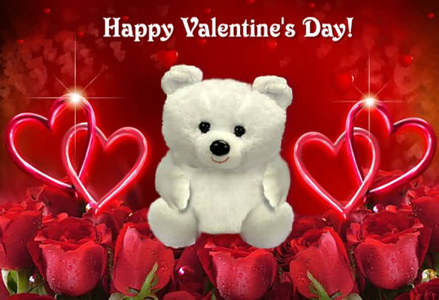 Happy Valentine S Day Teddy Bear With Rose Flowers Wallpaper
