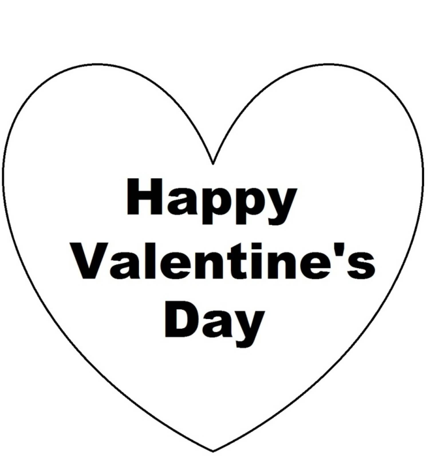 happy valentines day text in heart clipart