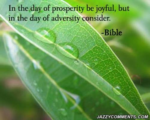 In the day of prosperity be joyful, but in the day of adversity consider