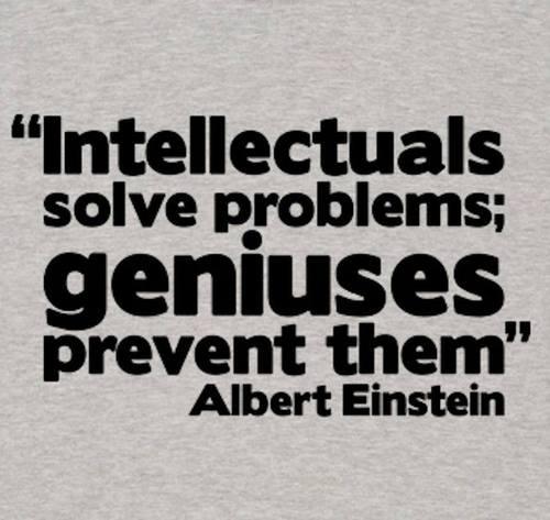 Intellectuals solve problems, geniuses prevent them. Albert Einstein