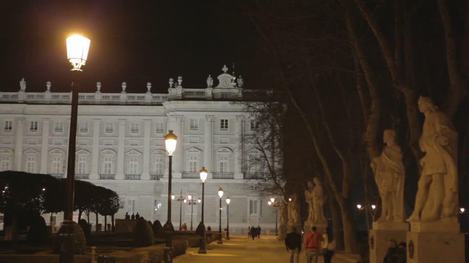 Lanterns Illuminated At The Garden Of Royal Palace Of Madrid
