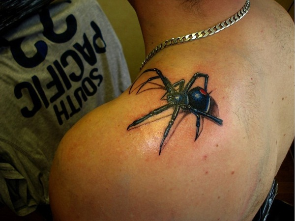 left back shoulder blue spider tattoo