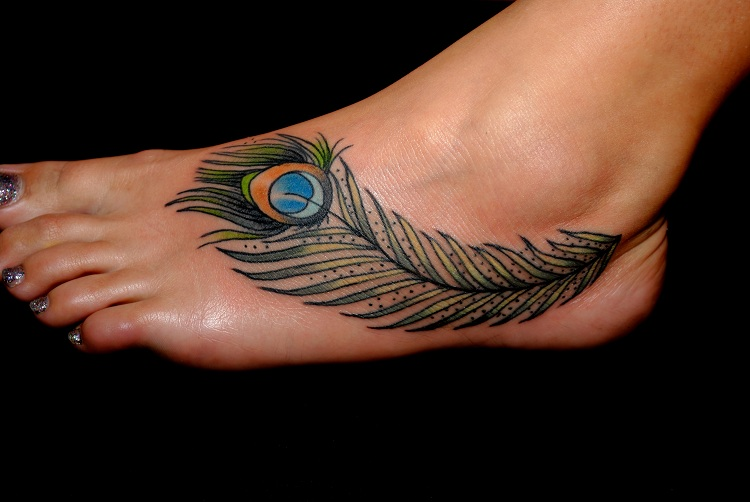 50 beautiful peacock feather tattoos ideas for Feather foot tattoo