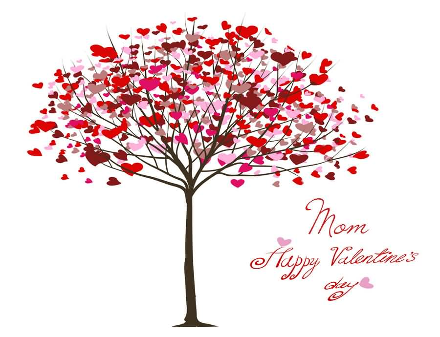 Mom Happy Valentine S Day Hearts Tree Card