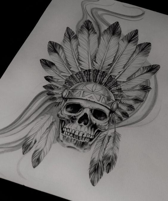 f6483be35 Native American Skull Tattoo Design