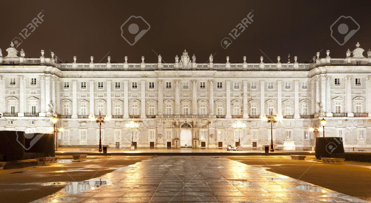 North Facade Of The Royal Palace Of Madrid Illuminated At Night