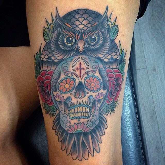 Roses and sugar skull tattoo design for Owl and sugar skull tattoo