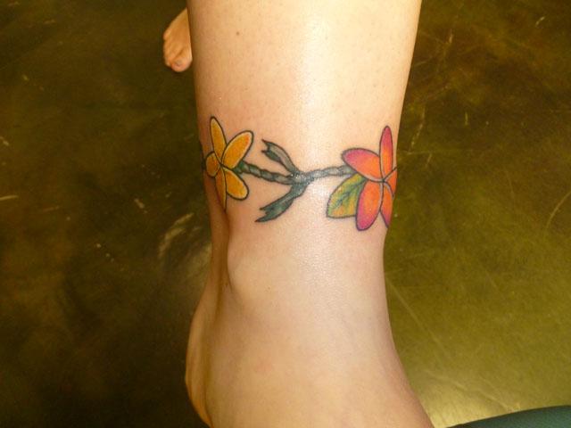 plumeria flower band tattoo on leg. Black Bedroom Furniture Sets. Home Design Ideas