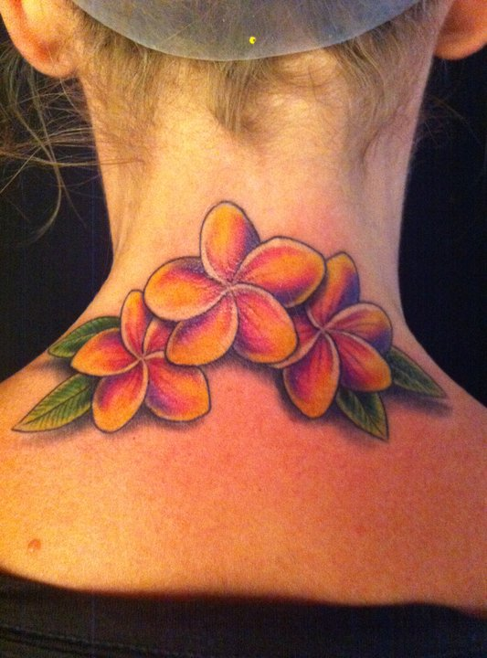 Plumerias Flowers Tattoo On Girl Back Neck