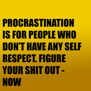 Procrastination is for people who don't have any self respect. Figure your shit out now
