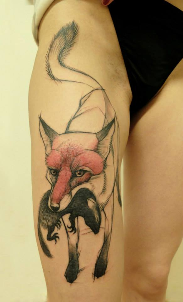 Rat In Fox Mouth Tattoo On Girl Right Thigh