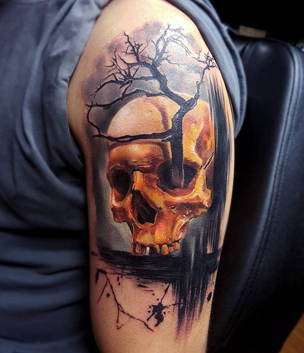 58 unique skull tattoos ideas and designs for Realistic tree tattoos