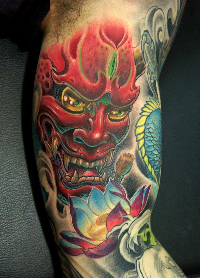 3d japanese hannya head with flower tattoo on right half for Hannya mask tattoo