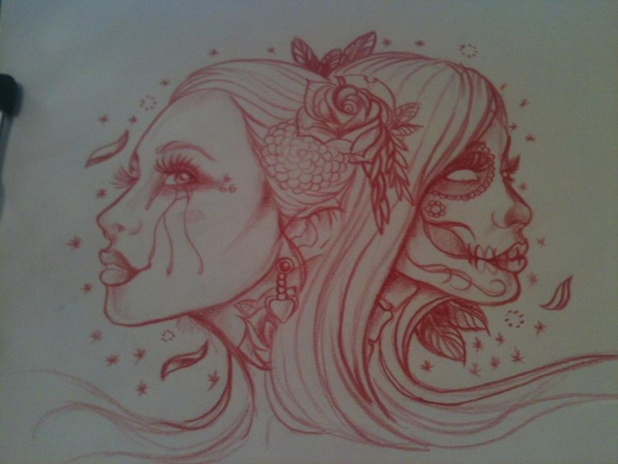 Red Ink Two Women Face Tattoo Design