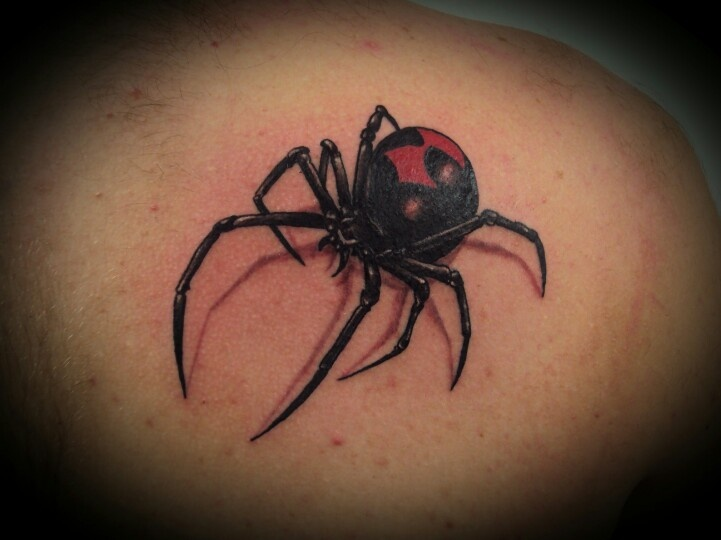Right back shoulder black widow spider tattoo for Black widow spider tattoo