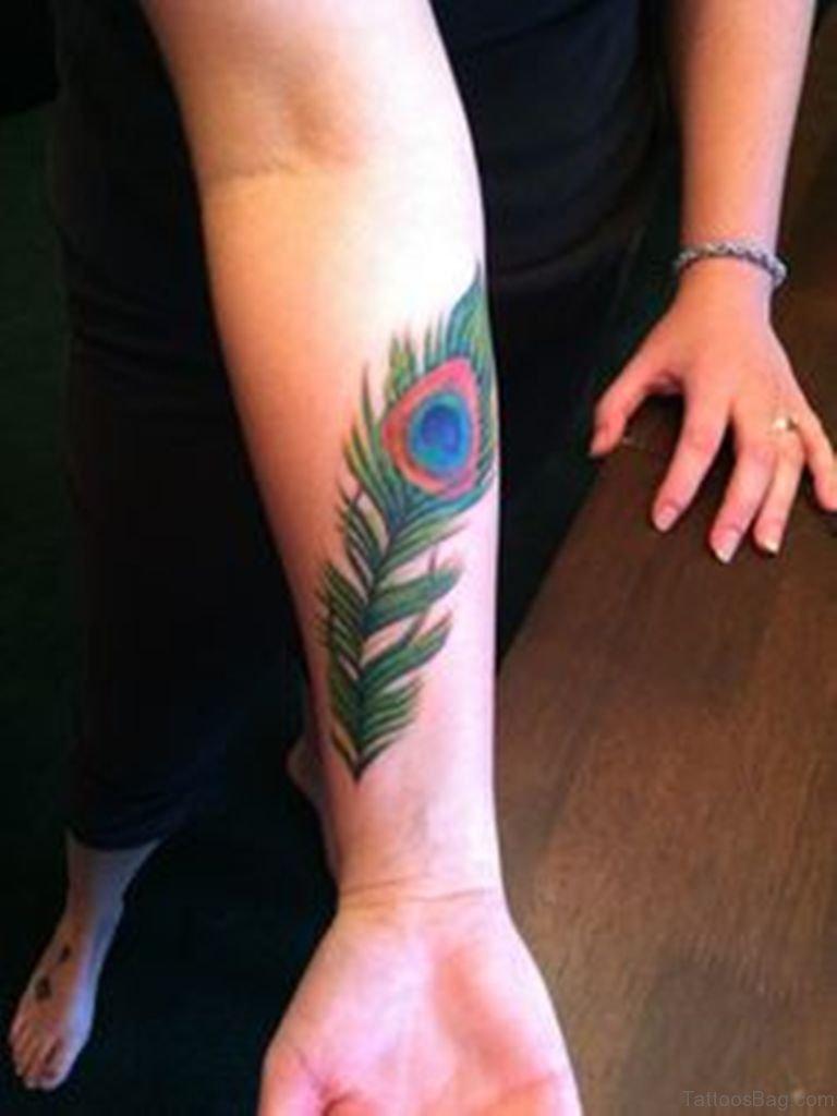 Right Forearm Peacock Feather Tattoo Idea