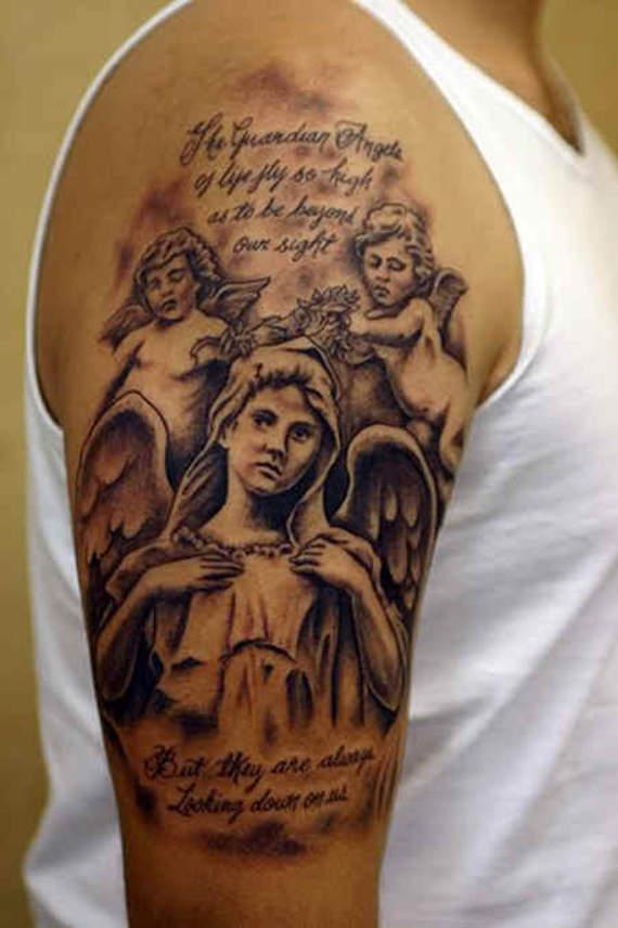 Half Sleeve Angel Tattoos For Men 36+ Most Popular Angel...