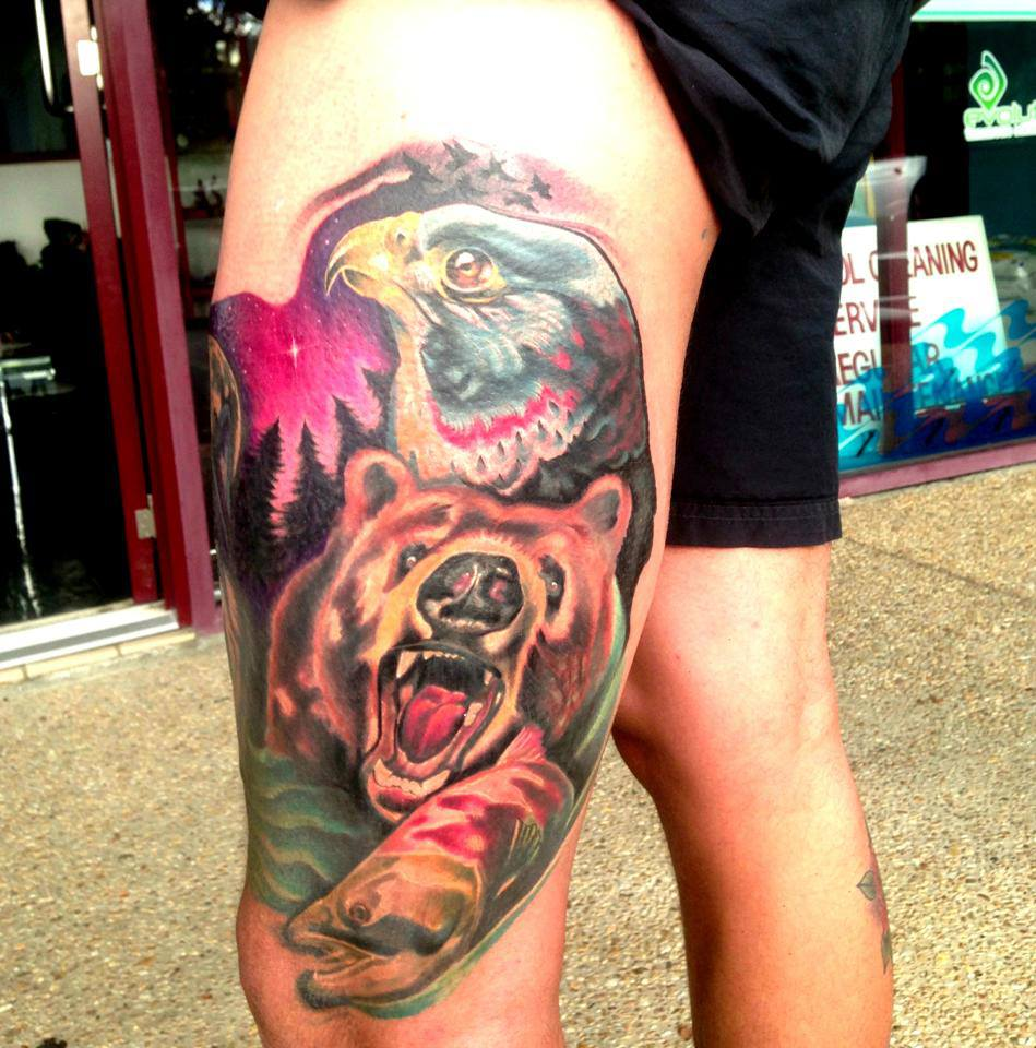 Cool colorful elephant hamsa tattoo on left thigh for Colorful thigh tattoos