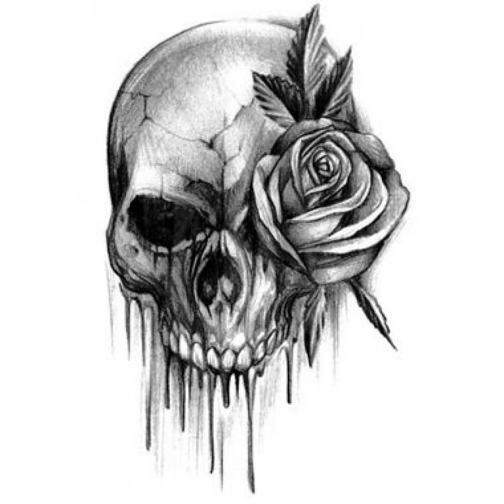 rose and skull tattoo design. Black Bedroom Furniture Sets. Home Design Ideas
