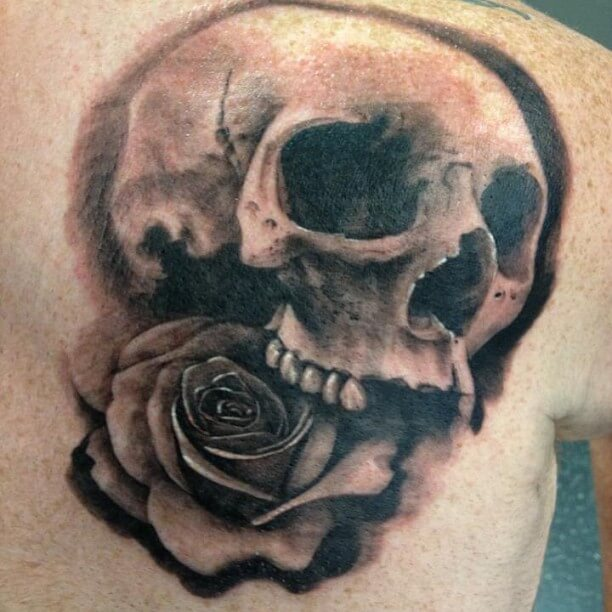 14 roses and skull tattoos collection for Rose and skull tattoos