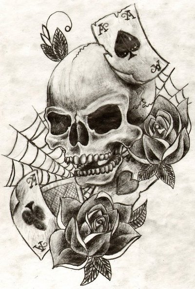 Rose With Spider Web And Skull Tattoo Design